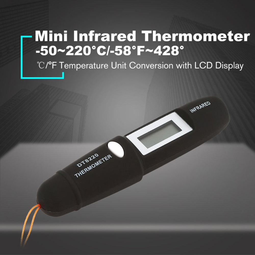 Digital LCD Mini Infrared Thermometer Temperature Meter Tester Red Laser Pocket Non Contact Pyrometer Pen Household Hot DT8220