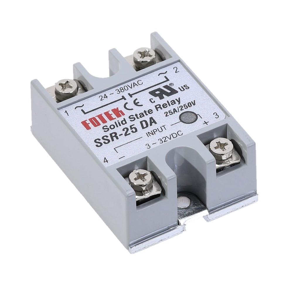 1pcs SSR-25DA 25A Solid State Relay Module 3-32V DC Input 24-380VAC