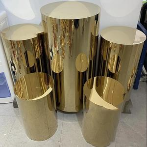 5pcs stainless steel high-quality Customized Mirror Wedding shinny Gold Round Plinths Cylinder Pedestals For Wedding Party