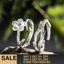 Thaya White Cherry Blossom Silver Ring s925 Silver Natural Pearl Shell Flower Branch Rings for Women Elegant Ladies Jewelry(China)
