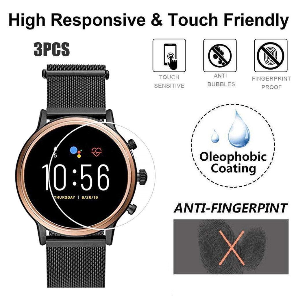 3PCS Tempered Glass For Fossil Gen5 Q Venture HR Smart Watch Vidrio Templado Screen Protector Bubble Free Anti Scratch 9h Glas