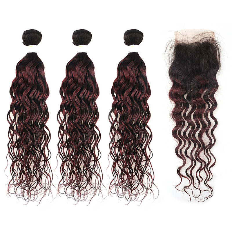 Brazilian 1B/99J Burgundy Water Wave Human Hair Bundles With Closure 4*4 Ombre Red Hair Weaving KEMY HAIR Non-remy 3PCS