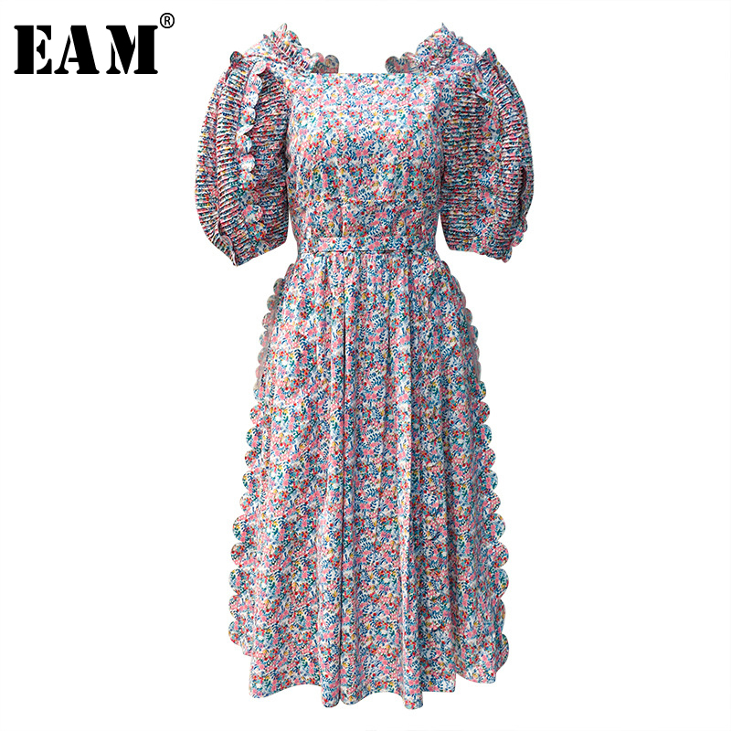 [EAM] Women Printed Pleated Temperament Dress New Round Neck Lantern Sleeve Loose Fit Fashion Tide Spring Summer  2020 1T742