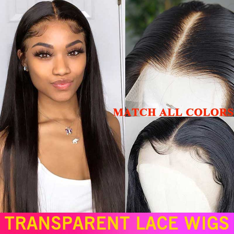 Wig Lace-Frontal Human-Hair Density Remy Hd Transparent Straight Invisible Brazilian