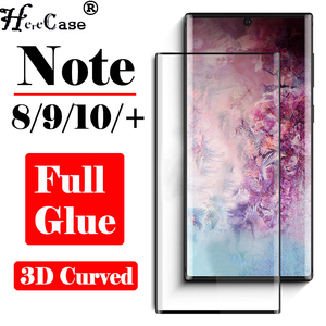Full Adhesive Glue Note 10 Pro Protective Glass For Samsung Note9 8 Screen Protector 3D Galaxy Note10 S9 Plus Tempered Glas Film(China)