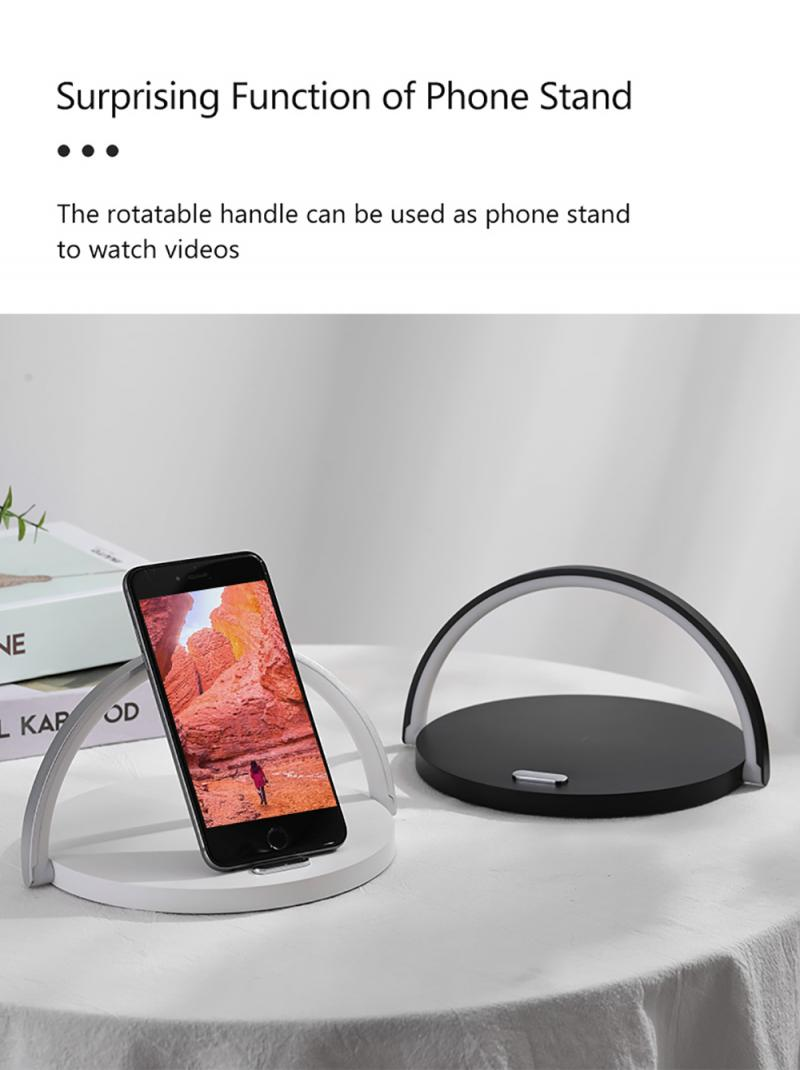 Wireless 10W Fast Charger Table Lamp Night Light Phone with Flash USB Qi Charging Compatible Multiple Safe Holder Pad for iPhone 4