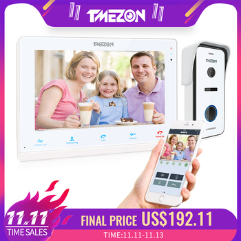 TMEZON 10 Inch Wireless Wifi Smart IP Video Doorbell Home Intercom System,Touchscreen Monitor with 720P Wired Door Phone Camera build in battery long time standby wireless wifi 720p ip doorbell intercom system