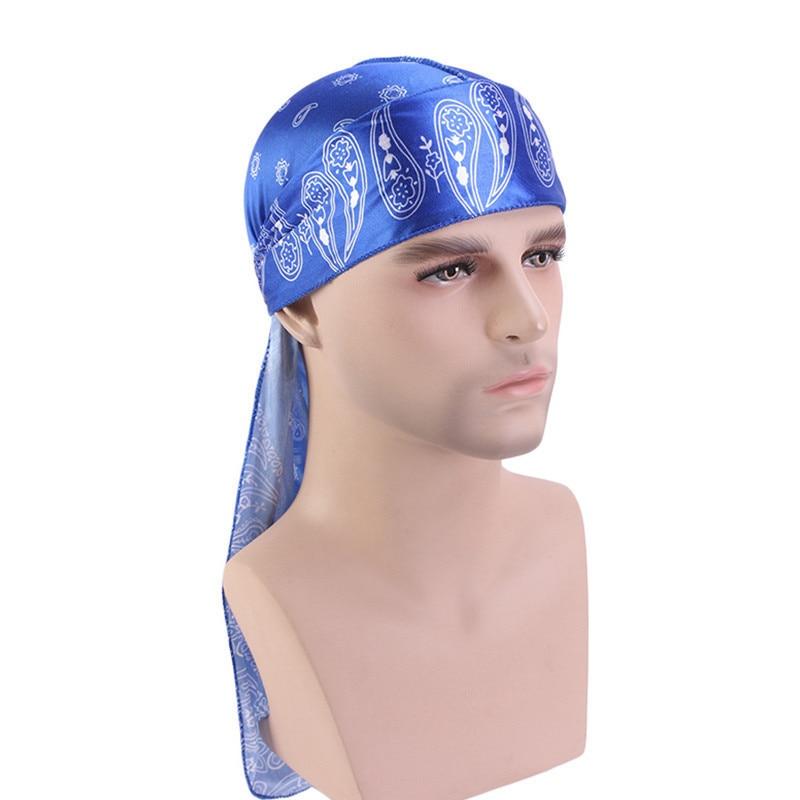 Durag Unisex Silky Bandana Men Doo Rag Wig Turban Pirate Hat Women Long Tail Cap