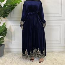 Мусульманское модное бархатное кимоно abayas для женщин турецкие