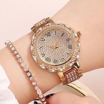 цена на 2020 Women Watch Woman Luxury Brand Gold Clock Lady Wrist Watches Crystal Female Ladies Quartz Watch Fashion Women's Wristwatch
