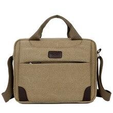 Новый стиль мужская сумка простой бизнес Crossbody мешок случайные ретро холст портфель мужской кожаный ноутбук сумка