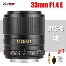 Viltrox 33mm f1.4 e lente de grande abertura APS-C lente de foco automático para sony e-montagem a9 a7riv a7riii a7ii a7s a6600 a6500 câmera