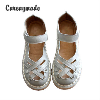 Careaymade-New 2020 Genuine Leather Sandals,pure handmade white shoes ,the retro art mori girl Flats shoes,fashion Doll shoes.