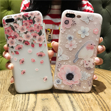 3D Paint Floral Phone Case For iPhone X XS MAX XR 7 8 Plus Silicone Girly Colors Luxury Cover 6 6S 5 5S SE