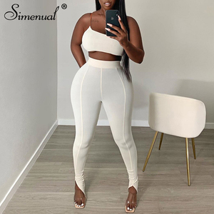 Simenual White One Shoulder Bodycon Matching Sets Women Sporty Casual Skinn Two Piece Outfits Sleeveless Top And Side Slit Pants