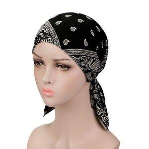 Image 1 - Muzułmańskie elastyczne kobiety bawełniany szalik Turban rak chemioterapia Chemo czapki czapki chusta na głowę nakrycia głowy na utrata włosów akcesoria