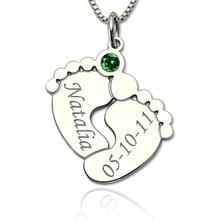 цены на StrollGirl 925 Silver personalized Baby Feet Necklace with Birthstone Custom Engraved Name&Date Pendant Necklace for Baby Gift  в интернет-магазинах