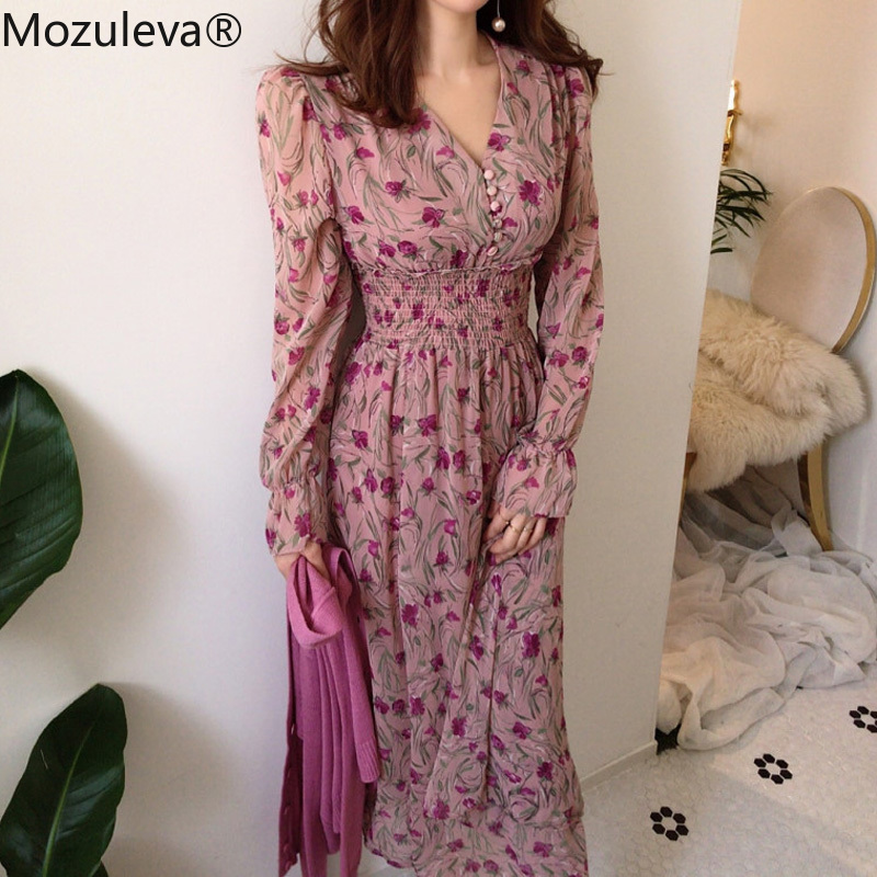 Женское платье с v-образным вырезом Mozuleva, винтажное длинное платье трапециевидной формы с цветочным принтом и расклешенными рукавами