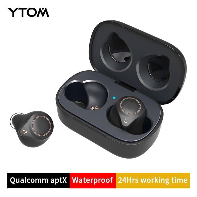 YTOM T1 Support AptX ACC TWS True Wireless Bluetooth 5.0 Earphone CVC8 Noise-Cancellation With Super Bass HD Mic headset earbuds wavefun xpods 3