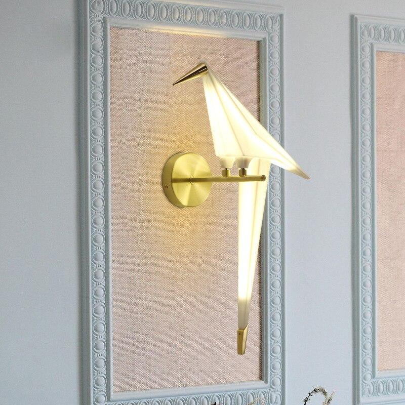 Luz Da Parede moderna Levou Ouro Pássaro Branco Arandela Loft Nordic Lâmpadas de Parede para Sala de estar Quarto Cabeceira Corredor Sala de Jantar 90 ~ 260V