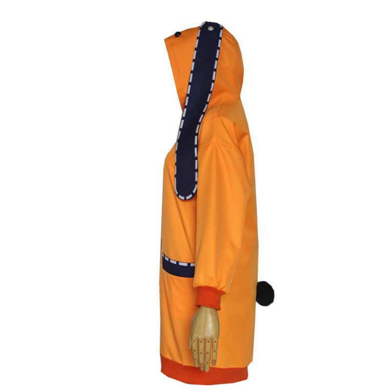 Jakcet Yomoduki Runa przebranie na karnawał Kakegurui przymusowy hazardzista Runa buty i peruka kobiety pomarańczowy płaszcz z kapturem i zamkiem błyskawicznym