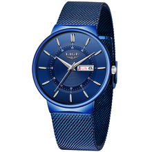 2020 New Blue Quartz Clock LIGE Mens Watches