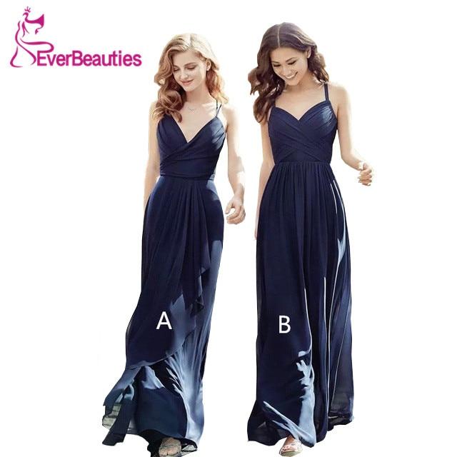 Graceful Party   Dress   Elegant Vestido Madrinha 2019 Spaghetti Strap   Bridesmaid     Dresses   Long Chiffon Robe Demoiselle D'honneur