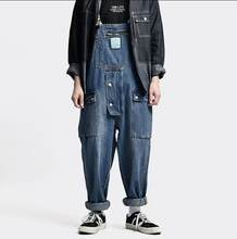 Men's Jeans Jumpsuits Mens Loose Casual Wide Leg Denim Cargo Pants Trendy Baggy Big Pocket Denim Overalls Trousers Male Bottoms(China)