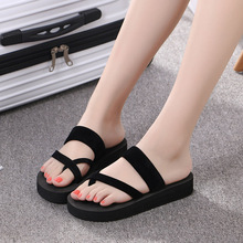 Women Summer Flip Flops Non-slip Platform Shoes Wedges High Heel Woman Outdoor Beach Slippers Sandals Flip Flops Women lucyever women shoes flip flops 2018 new summer rhinestones high heel slip on women slipper black blue flip flops size 35 41