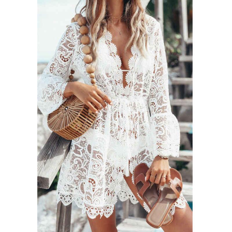 Femmes dentelle Crochet Bikini couvrir maillots de bain plage maillot de bain été fleuri évider robe tricotée hauts Biquinis Vestidos