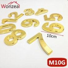 10 см золотой цвет ABS пластик табличка дом номер двери отель Адрес стикер с цифрами табличка знак дверная пластина 0123456789