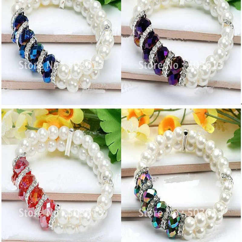 Fashion crystal glass imitation pearl loose diy women handmade beaded bracelet one piece gcb1150