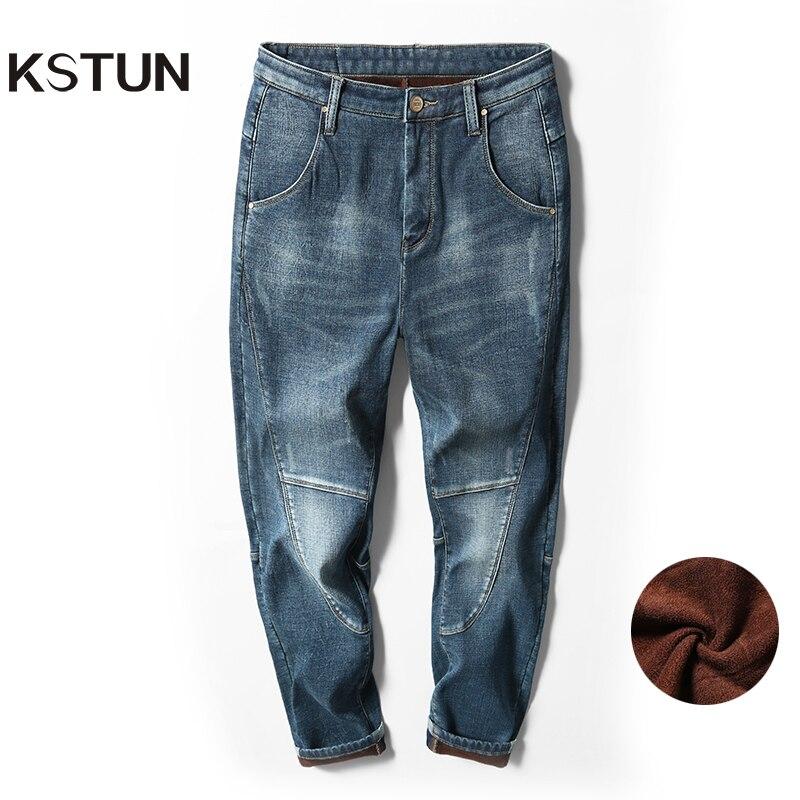 Winter Men's Warm Jeans Harem Pants Thicken Denim Elastic Loose Fit Blue Jean Pants Male Brand Casual Plus Velvet Trousers Big