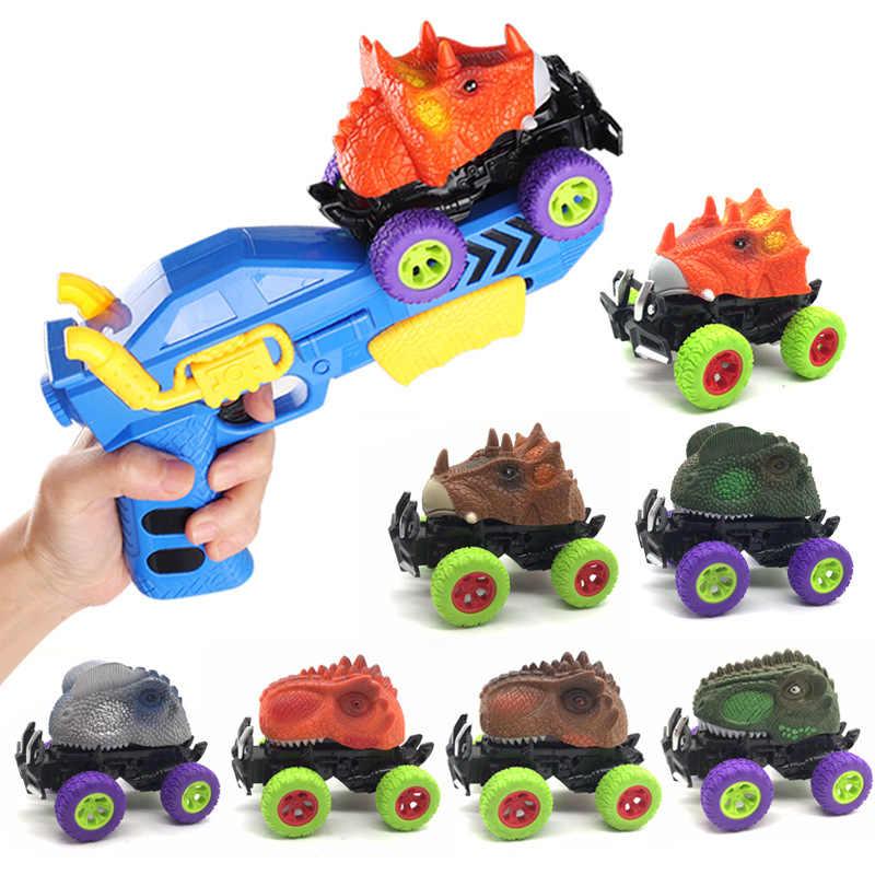 דינוזאור שקופיות משאית צעצועי שינוי led רכב עם משגר חשמלי דינו כלי רכב עיוות מודלים בני ילדים צעצועי אקדח
