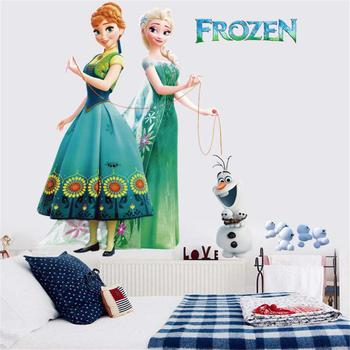 Cartoon Princess Elsa Wall Stickers for Kids Rooms Girls Bedroom Poster Vinyl DIY Mural Art Adesivo de parede Decal Baby Nursery 7