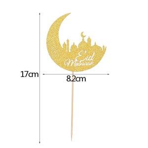Image 5 - 1/10 adet altın ay Eid Mubarak kek Topper ramazan parti dekor fincan kek bayrağı İslam müslüman EID al fitr Eid parti malzemeleri