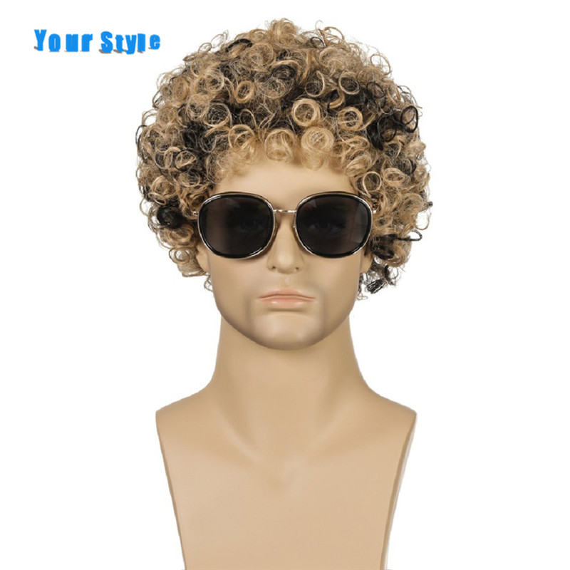 Your Style Synthetic Afro Kinky Curly Hair Wigs Men Afro American Wigs Cosplay Mixed Color High Temperature Fiber
