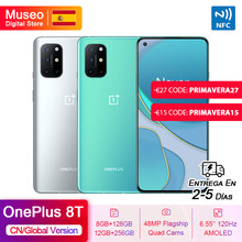 OnePlus 8T, ROM Global, 8GB/12GB RAM 128GB/256GB ROM, Snapdragon 865 5G Movil, 6.55'' 120Hz Pantalla, 48MP Cámara, Carga de 65W NFC