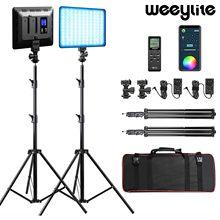 Weeylite sprite20 2 pacote kit de luz vídeo rgb led painel luz vídeo 2.4g remoto sem fio para gravação vídeo estúdio fotografia
