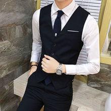 Vest Mens Suit Business Vest Casual Waistcoat Formal Suit Gilet Black Grey Slim England Style Waistcoat Wedding Clothing HOWDFEO