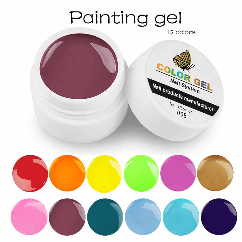 Lghzlink สีเล็บเจลเล็บเจลเล็บเคล็ดลับ DIY Design Manicure 12 สี UV LED Soak Off UV GEL เคลือบเงาหมึกเจล