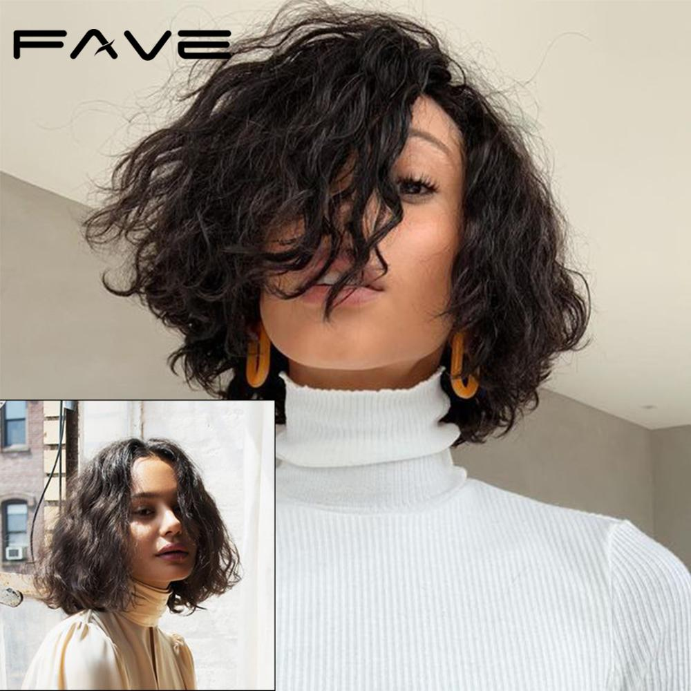 FAVE Lace Front Wig Natural Wave Bob Wig 100% Brazilian Human Remy Hair Wig Half Hand Tied Lace Part Free Shipping 10-12 Inches