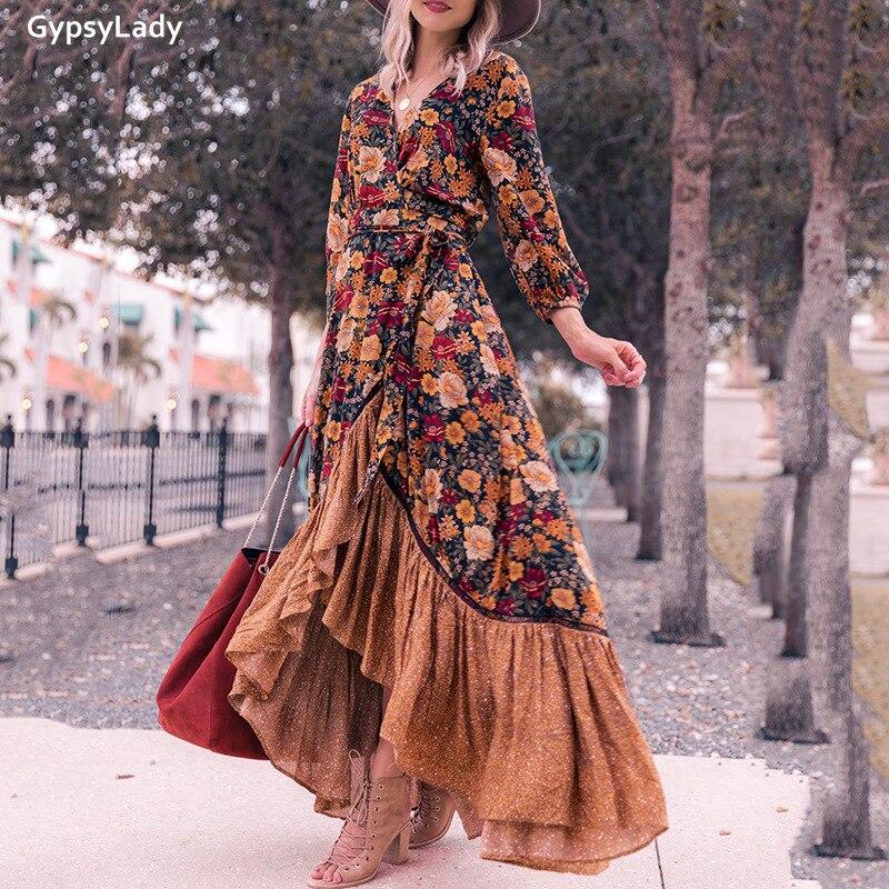 Женское винтажное платье макси gypsylady осеннее с длинным рукавом