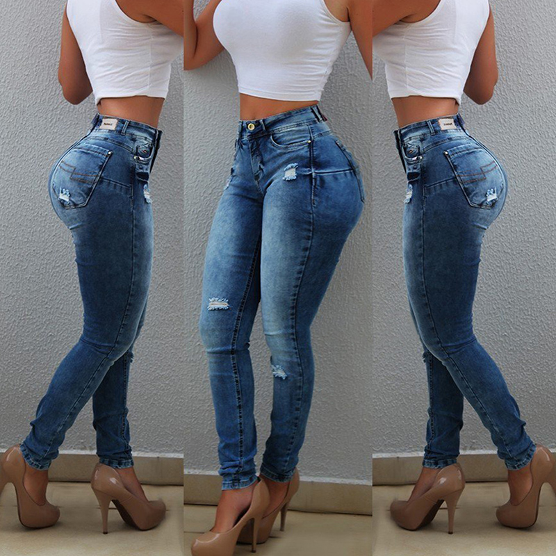 Sexy high Waist Jeans Woman Peach Push Up Hip Skinny Denim Pant Boyfriend Jean For Women Elastic Leggings blue jeans D30|Jeans|   - AliExpress