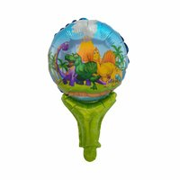 50pcs Dinosaur Aluminum Foil Balloons Stick Jurassic World Globos Party for Dinosaur Party Animals Supplies Kids Birthday Gift