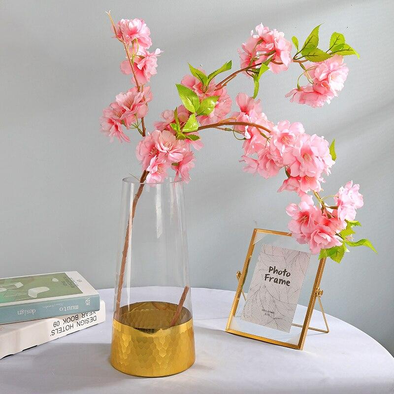 Flor de cerejeira ramo flores artificiais flores artificiais de alta calidad romanticpink decoração casa presente do amor do casamento