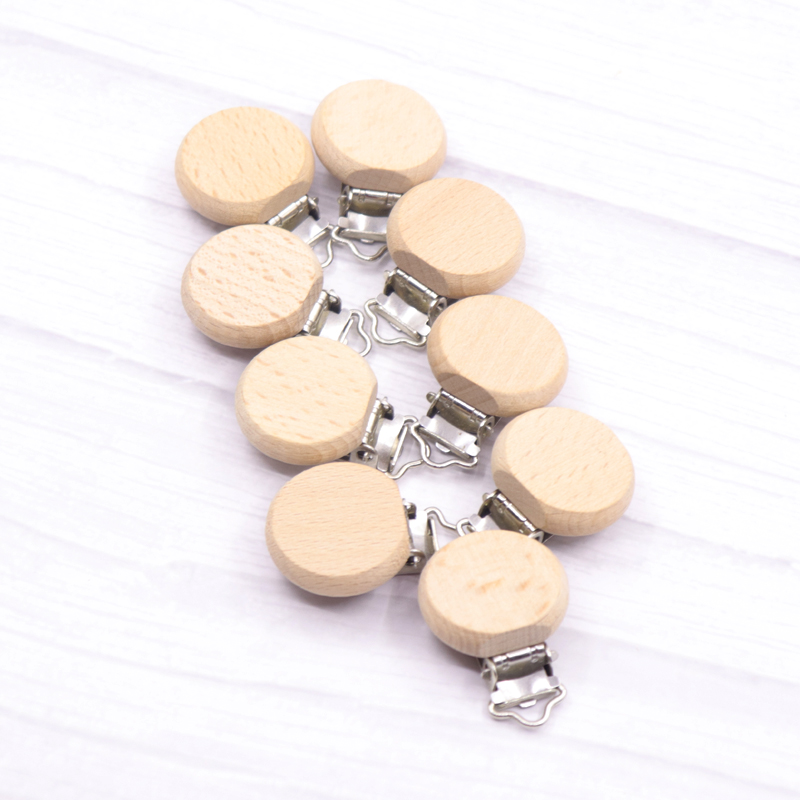 50PCS Beech Wood Baby Pacifier Clips Round Dummy Clip DIY Paci Chain Accessories Chemical Free Wooden Pacifier Holder