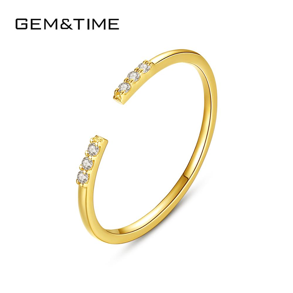 Gem&Time Simple Real 14K Gold 585 Fine Jewelry Open Rings Gemstone 14k Yelloe Gold Engagement Ring for Women Anillos Mujer R1411
