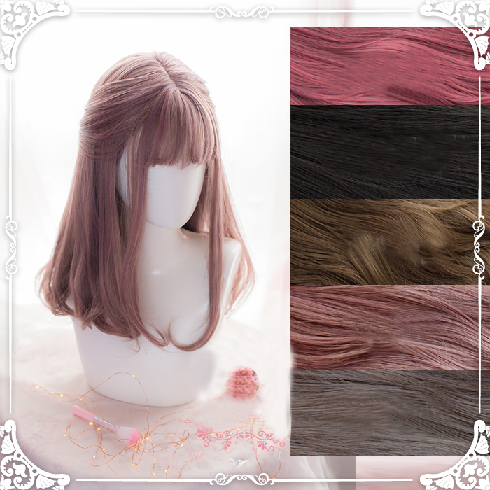 Original Daily Lolita Cosplay Wigs High-temperature Fiber Synthetic Hair Five Colors Long Natural Straight Hair + Free Hair Cap