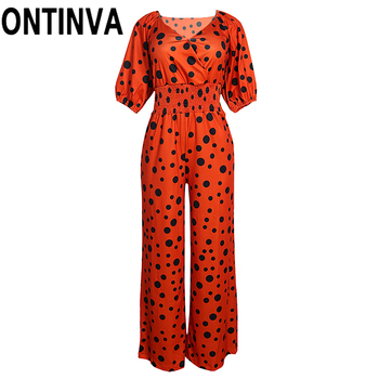 Ladies Summer Sexy Polka Dot V Neck Puff Sleeve Full Length Wide Leg Jumpsuits Rompers Orange Color Black Polka Dot Overalls wide leg polka dot cami jumpsuit